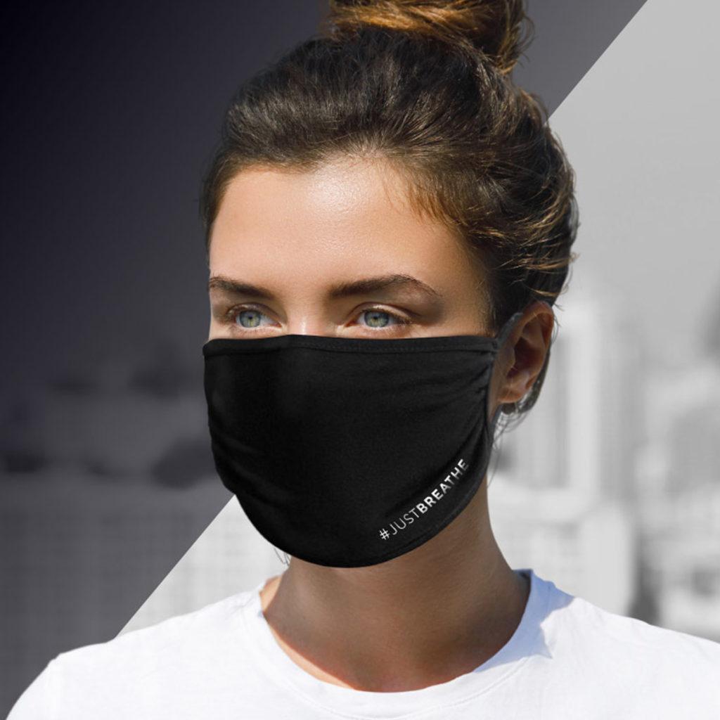 #JUSTBREATHE – Community Maske – Schwarz (5 Stück)